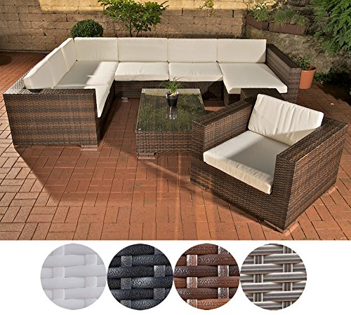 clp garten loungem bel set barcelona aluminium polyrattan 6 sitzpl tze garnitur mit 25. Black Bedroom Furniture Sets. Home Design Ideas