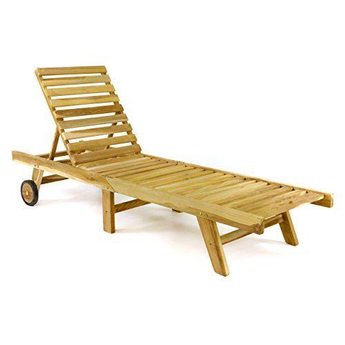 DIVERO klappbare Sonnenliege Gartenliege Relaxliege Holzliege Liege aus unbehandeltem Teak-Holz 200x57x34 extra hohe und bis zur Liegeposition verstellbare Rückenlehne