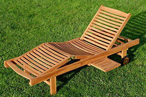 ECHT TEAK Sonnenliege Gartenliege Strandliege Holzliege Holz vielfach verstellbar mit Tisch sehr robust Modell: JAV-COZY von AS-S