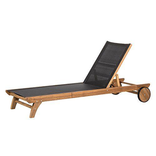 Gartenliege Teakholz mit Textilene hochwertig Teakmöbel Sonnenliege Holzliege mit Rollen und Rücken Verstellung
