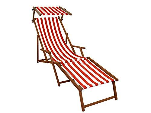 Gartenliege rot-weiß Strandliege Relaxliege Fußablage Sonnendach Buche Klappstuhl 10-314 F S