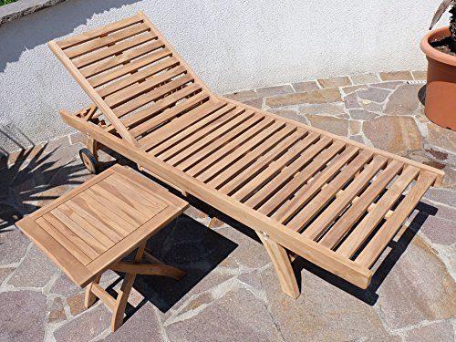 Hochwertige TEAK Sonnenliege Gartenliege Strandliege Liegestuhl Holzliege Holz sehr robust Modell: COZY+ Beistelltisch 45x45cm von AS-S