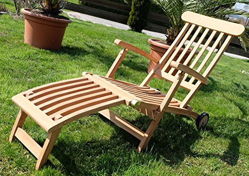 hochwertiger teak steamer deckchair deckstuhl liegestuhl sonnenliege gartenliege relaxsessel. Black Bedroom Furniture Sets. Home Design Ideas