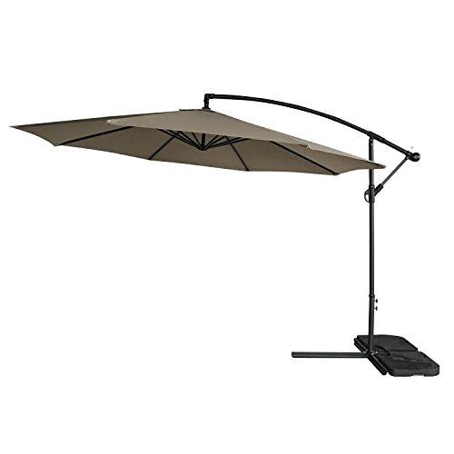 Homedox 9FT Alu Ampelschirm höhenverstellbarer Sonnenschirm Gartenschirm Marktschirm mit Kurbelvorrichtung 8 Rippen UV 50+ Schutz mit Fusskreuz und Kurbel