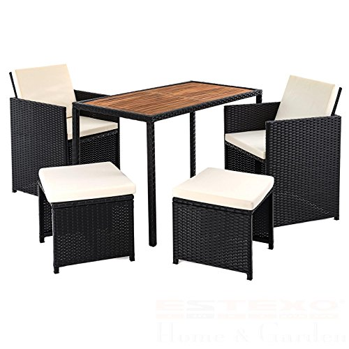 polyrattan gartenset f r 4 personen set schwarz rattan sitzgruppe tischplatte aus. Black Bedroom Furniture Sets. Home Design Ideas