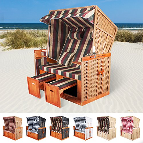 Rattan Strandkorb XL Sylt Miweba Nordsee Ostsee Volllieger inklusive Abdeckplane Gartenmöbel Terasse in verschiedenen Farben Strandfeeling zu Hause