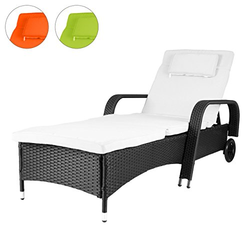 rattanliege mit auflage poly rattan gartenliege sonnenliege liegestuhl liege gartenm bel. Black Bedroom Furniture Sets. Home Design Ideas