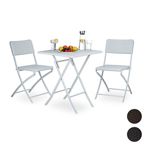 relaxdays gartenm bel set klappbar bastian 3er set eckig in verschiedenen farben mit klapptisch. Black Bedroom Furniture Sets. Home Design Ideas
