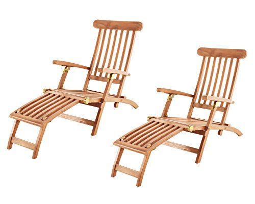 SAM Gartenliege Puccon, Teak-Holz, verstellbarer Deckchair, klappbar, ideal für Balkon, Terrasse und Garten