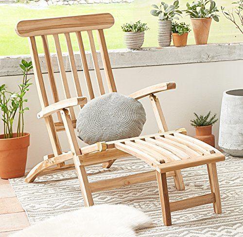 SAM® Teak Holz Deckchair, Liege-Stuhl, Sonnenliege, verstellbar, geschliffen, platzsparend zu verstauen im Winter, ideal für Balkon und Garten, robuste Gartenliege