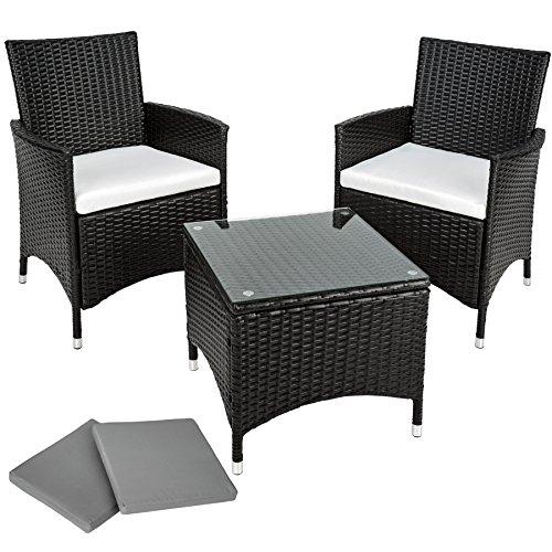 TecTake Aluminium Poly Rattan Gartenmöbel Gartengarnitur Gartenset  Sitzgruppe schwarz mit Sitzkissen...