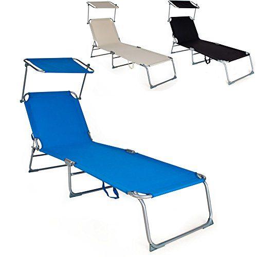 TecTake Gartenliege Sonnenliege Strandliege Freizeitliege mit Sonnendach 190cm -diverse Farben-