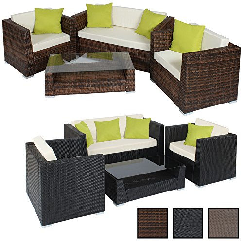tectake hochwertige alu luxus lounge set poly rattan sitzgruppe gartenm bel mit 4 extra kissen. Black Bedroom Furniture Sets. Home Design Ideas