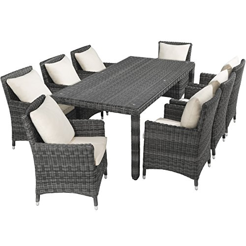 tectake luxus poly rattan aluminium bar set mit 6 barhocker 2 bezugsets schutzh lle. Black Bedroom Furniture Sets. Home Design Ideas