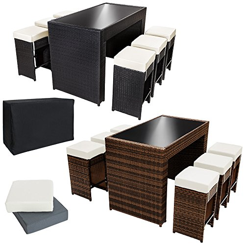Tectake luxus poly rattan aluminium bar set mit 6 for Barhocker tisch set