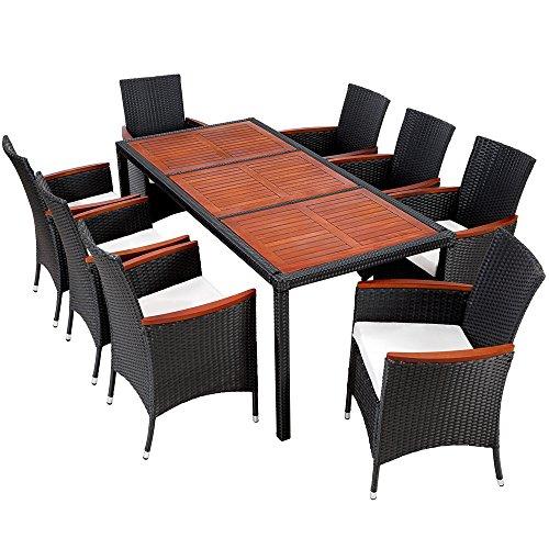 tectake poly rattan gartenm bel gartengarnitur essgruppe gartenset sitzgruppe mit holz. Black Bedroom Furniture Sets. Home Design Ideas