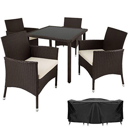 tectake poly rattan gartenm bel gartengarnitur essgruppe 4 1 mit edelstahlschrauben diverse. Black Bedroom Furniture Sets. Home Design Ideas