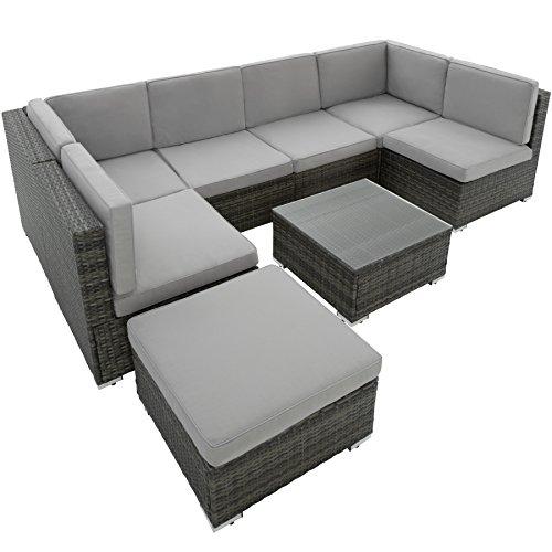 tectake poly rattan sitzgruppe venedig 6 sitze 1 tisch 1 hocker edelstahlschrauben grau. Black Bedroom Furniture Sets. Home Design Ideas