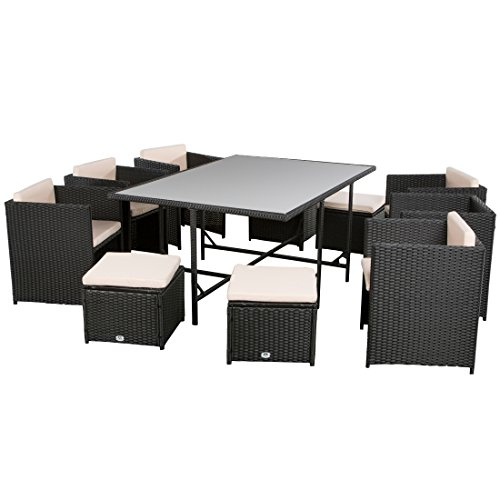 ultranatura poly rattan lounge set palma serie 11 teilig 1 tisch 6 sessel 4 hocker. Black Bedroom Furniture Sets. Home Design Ideas