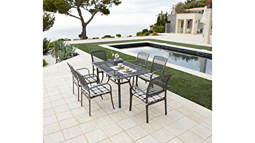 baumarkt direkt 13 tlg gartenm belset montreal 6 sessel auflagen tisch alu textil schwarz. Black Bedroom Furniture Sets. Home Design Ideas