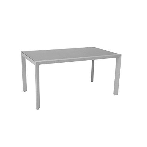 greemotion Tisch Stockholm weiß/grau, Gartentisch mit Glasplatte