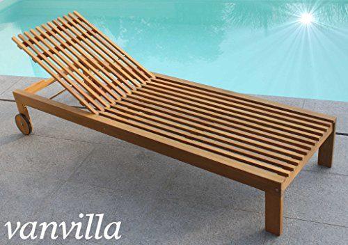 vanvilla Sonnenliege Gartenliege Holz Relaxliege Liegestuhl SOLANO inkl. Polsterauflage