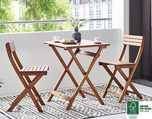 SAM® Gartengruppe, 3tlg., Balkongruppe aus Akazienholz, FSC® 100% zertifiziert, 1 x Tisch + 2 x Stuhl, geölt, Garten-Tischgruppe, klappbar, Sitzgruppe aus Akazien-Holz