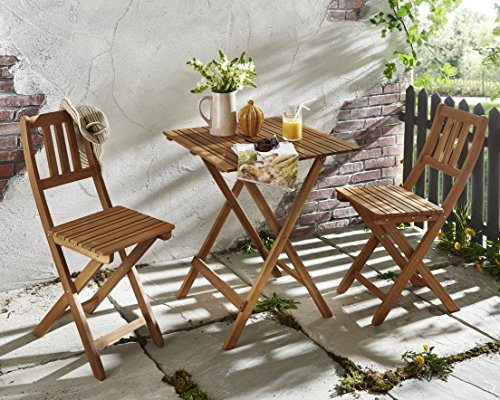 SAM 3-tlg. Balkongruppe Bermuda, Sitzgruppe aus Akazienholz, 1 Tisch + 2 Stühle, klappbar, FSC zertifiziert