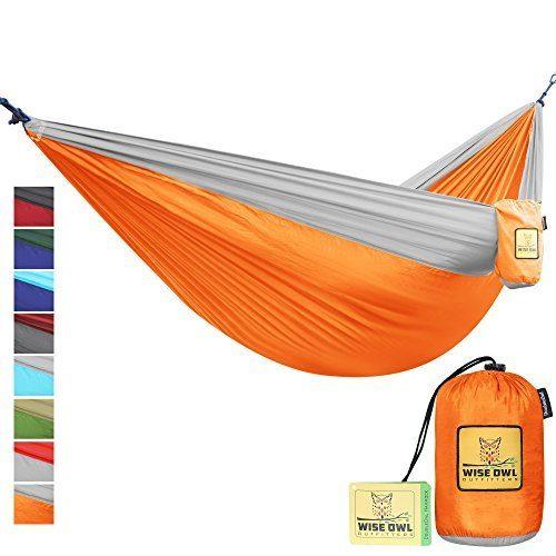 Wise Owl Outfitters Hängematte - Einzel- Und Doppel Camping Hängematten - - Tragbares Leichtes Fallschirm Nylon. DoppeltOwl DO Orange Und Grau