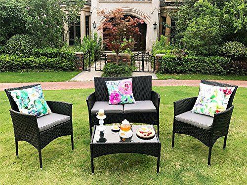 Yakoe Eton Range Outdoor 4-Teilig Polyrattan Sitzgruppe Gartenmöbel Bistro Set, Schwarz, 106x59x84 cm
