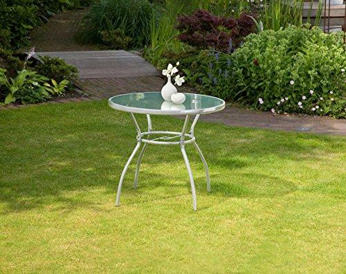 greemotion Tisch Prag silber, Gartentisch mit klarer Glasplatte, runder Esstisch mit robustem Stahlgestell, ideal für ca. 2-4 Personen