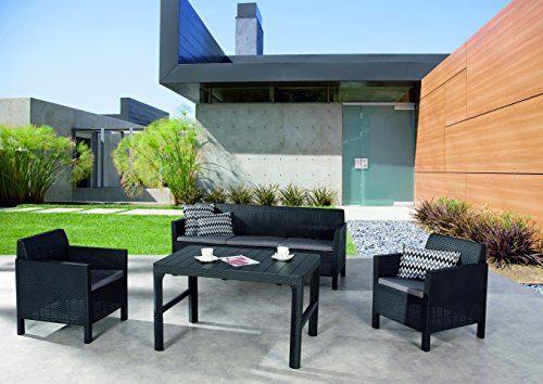 BEST 4-teilig Lounge Gruppe Amalfi groß, graphit / hellgrau, 182 x 72 x 75 cm, 96114550
