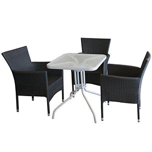 4tlg. Balkonmöbel Set Bistrotisch, Glastisch, pulverbeschichtetes Metallgestell, 60x60cm, Weiß + 3x stapelbare Polyrattan Sessel Schwarz Sitzgruppe Sitzgarnitur Gartenmöbel