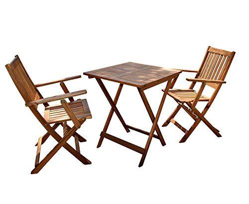 SAM® Robuste Gartengruppe Camelia 3tlg., aus Akazienholz, bestehend aus 1 x Tisch + 2 x Klappstuhl, geölt, Garten-Tischgruppe, schöne Maserung, massives Holz, klappbar, Sitzgruppe aus Akazien-Holz