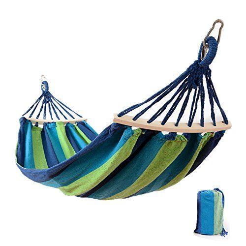 """Hängematte Outdoor, Easy Eagle Anti-Rollover Reise Segeltuch Camping Haengematte Draussen Regenbogen Stripes Swing Send Tie Seil + Tasche (78,74""""x 39,37"""" Einzelne Blaue Streifen)"""