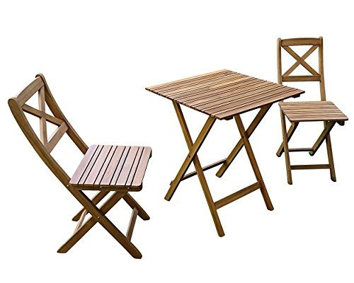 SAM 3-tlg. Gartengruppe Xenia, Akazienholz geölt, 1x Tisch 60x60 cm + 2x Stühle, klappbar, natur