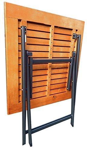 Flach & Stabiler Terassen / Gartentisch Klapptisch aus echtem Eukalyptus Holz , Alu Gestell Tisch klappbar