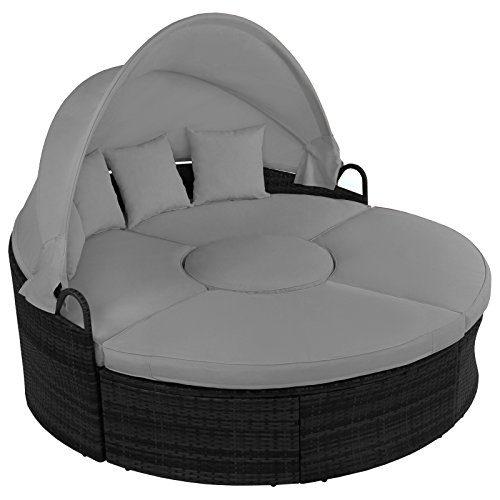 13-teilige Polyrattan Lounge-Muschel LA CHEETAH mit aufklappbarem Sonnendach Garten Lounge inkl. Auflagen mit Klettleisten und Kissen , Farbe:Titan-Schwarz / Kieselstrand