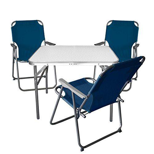 4tlg. Campingmöbel Set Klapptisch, Aluminium, 55x75cm + 3x Campingstuhl, blau / Strandmöbel Campinggarnitur Gartenmöbel
