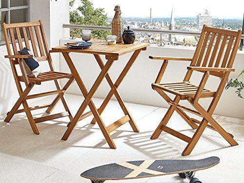 SAM 3-tlg. Gartengruppe Chile, Akazien-Holz, 1x Tisch 60x60 cm + 2x Klappsessel, Set klappbar, massives Balkonset