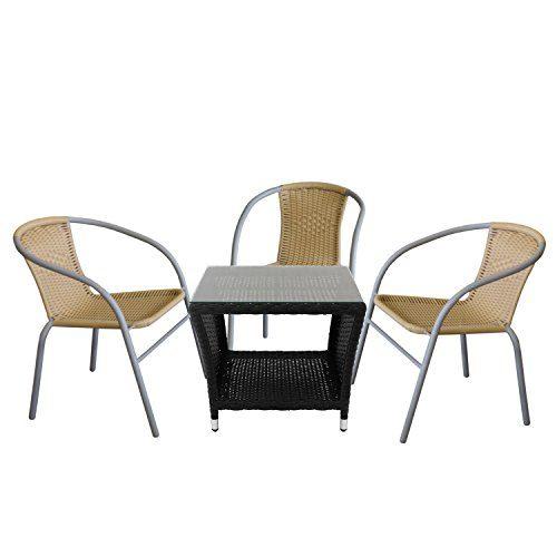 4tlg. Sitzgruppe Beistelltisch, Polyrattan Schwarz, Tischglasplatte, 50x50cm + 3x Bistrostuhl, stapelbar, Polyrattanbespannung Beige, Stahlrohrgestell pulverbeschichtet Grau