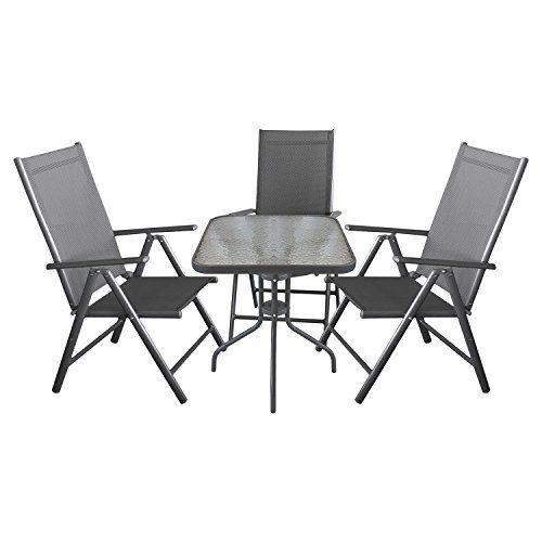 4tlg. Campingmöbel Balkonmöbel Gartenmöbel Terrassenmöbel Set Gartengarnitur Sitzgruppe Sitzgarnitur - Glastisch 60x60cm + 3x Hochlehner, klappbar, 2x2 Textilenbespannung, Lehne um 7 Positionen verstellbar, Anthrazit