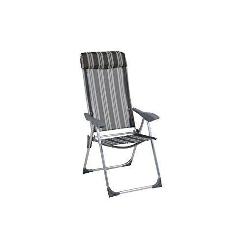 greemotion Klappsessel Texel silber/grau gestreift, platzsparend klappbar, Stuhl mit verstellbarer Rückenlehne, breite Armlehnen, Campingstuhl aus robuster Textilene, besonders leichtes Alu-Gestell