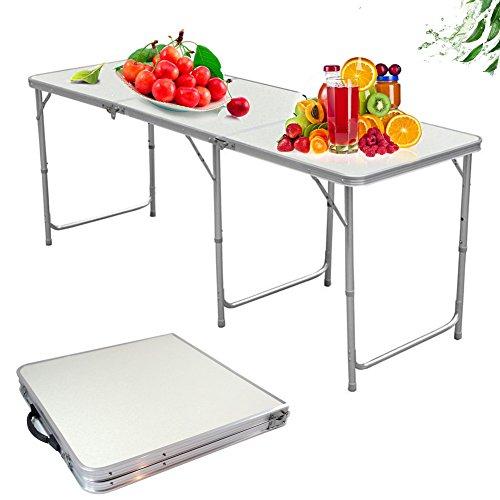 HUAYUU Aluminium Campingtisch Klapptisch Gartentisch Arbeitstisch Balkontisch 180x60x70cm Höhenverstellbar Tragbar Falttisch Gartentisch