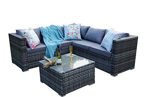 Yakoe Papaver Serie Outdoor 5 Sitzer Polyrattan Lounge Set Ecksofa Gartengruppe Gartenmöbel Sitzgarnitur, Grau, 181x181x66 cm