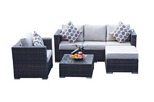 Yakoe Papaver Serie Outdoor4-Teilig Polyrattan Lounge Ecksofa Sitzgruppe Gartenmöbel Sitzgarnitur, Braun, 182x65x71 cm