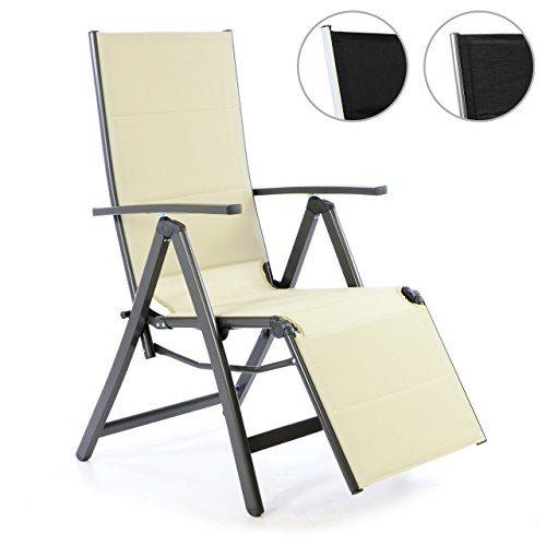 Nexos Liegestuhl DELUXE Alu creme Klappstuhl mit Fußstütze Campingliege Rahmen anthrazit Gartenliege leicht stabil für Terrasse oder Balkon witterungsbeständig 108x67x60 cm mit Armlehne