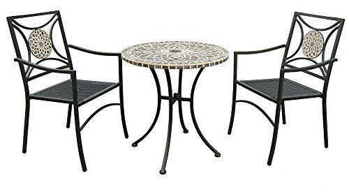 """3tlg- Bistromöbel Set """"La Rochelle"""" 2 Gartenstuhl Sitzkissen Klapptisch rund schwarz Balkonmöbel, Garten, Loggia, Balkon, Terrasse"""