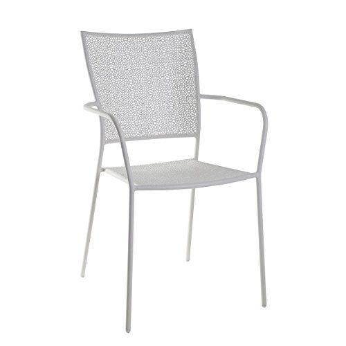 greemotion Stapelstuhl Mykonos weiß, Gartenstuhl aus pulverbeschichtetem Stahl, platzsparend stapelbar, Balkonstuhl mit Armlehnen, witterungsbeständig und pflegeleicht