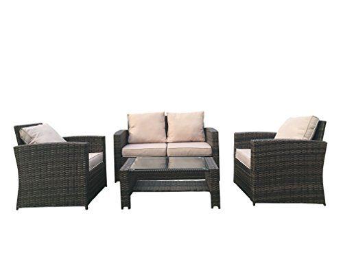 Yakoe Eton Range Outdoor4-Teilig Polyrattan Sitzgarnitur Gartenmöbel Sitzgruppe Balkon Set, Braun, 128x72x78 cm
